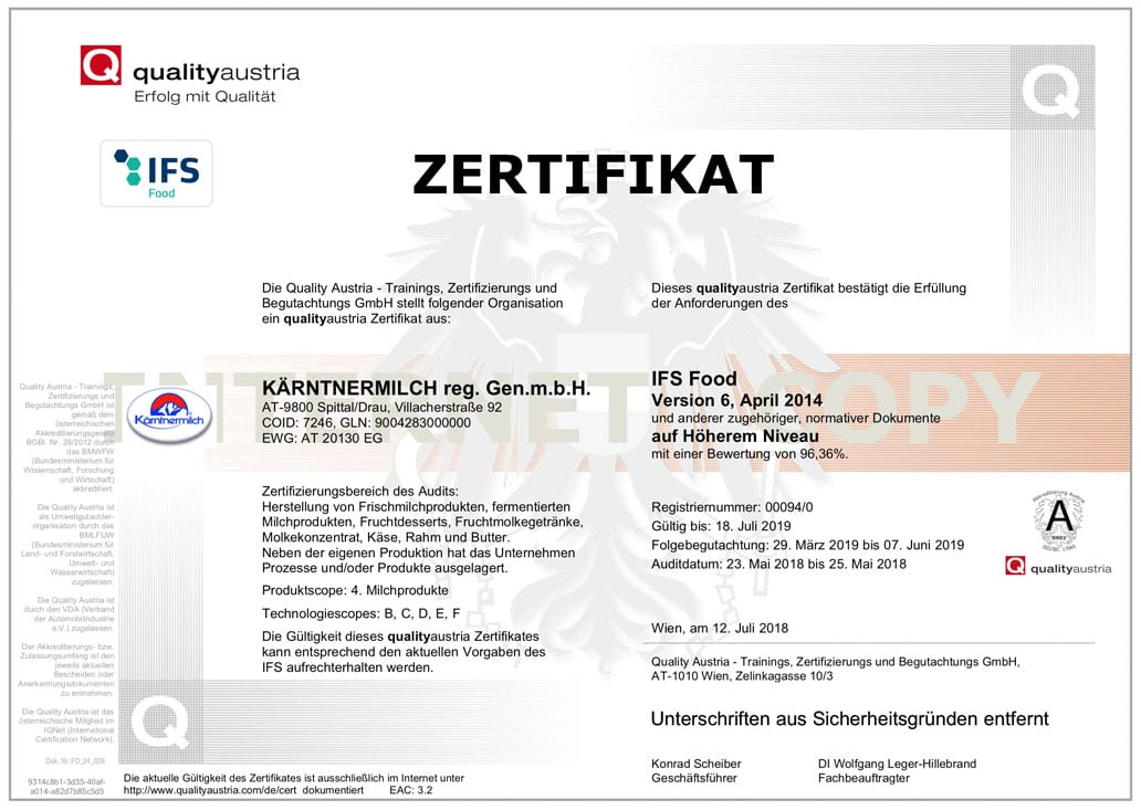 IFS-Kaerntnermilch-Zertifikat