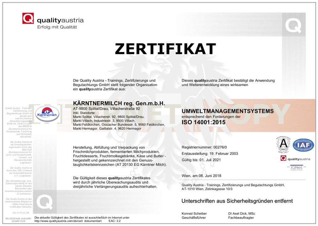 ISO-14001-Zertifikat