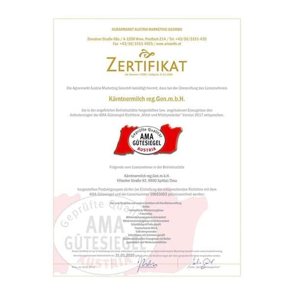 Ama-Guetesiegel-Zertifikat