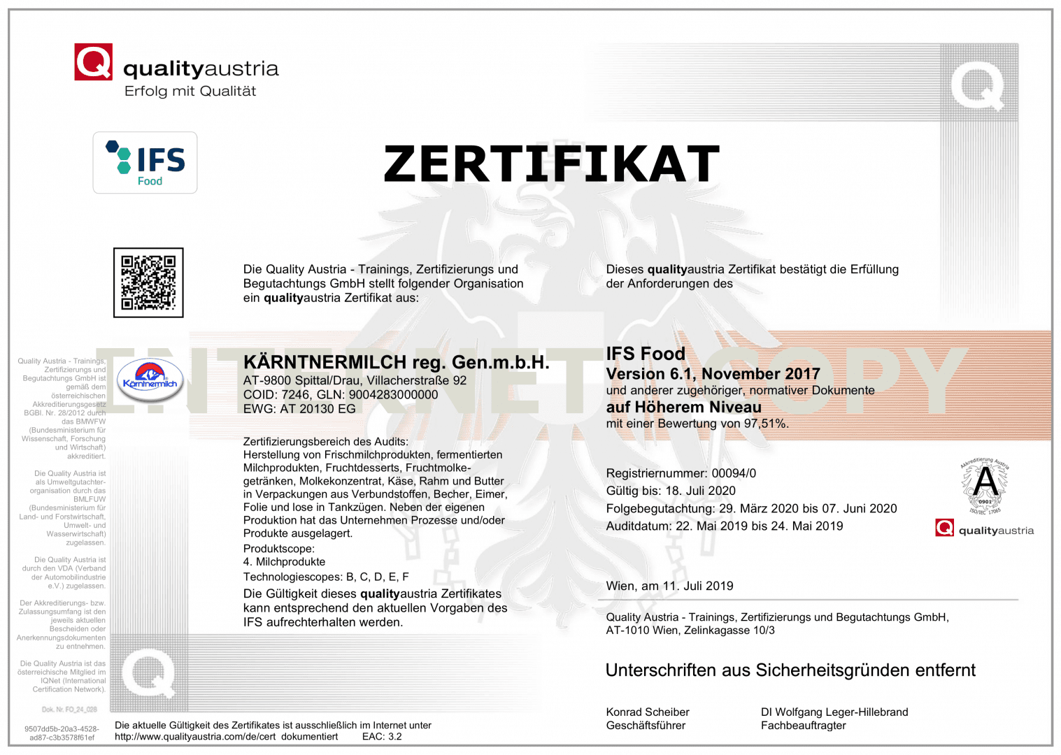 ifs-food-zertifikat-kaerntnermilch